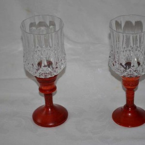 Wine Glasses (Pair) – Yellow Cedar – Dyed Red